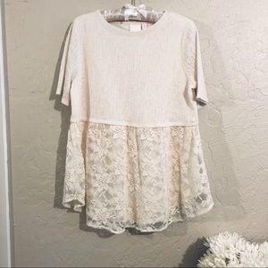 LC Lauren Conrad lace babydoll top size M
